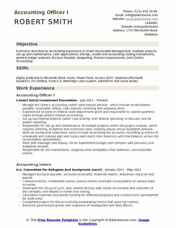 Accounting Officer Resume Samples QwikResume - Cash Management Officer Sample Resume