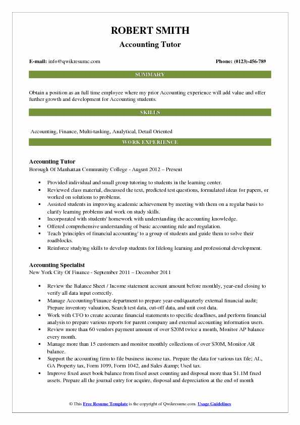 Accounting Tutor Resume Samples QwikResume - tutor resume
