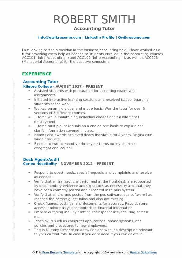 Accounting Tutor Resume Samples QwikResume