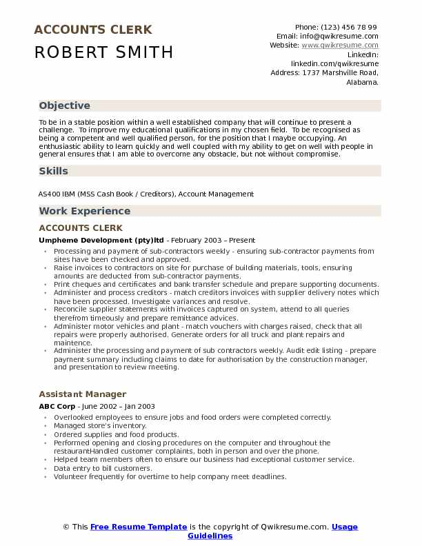 Accounts Clerk Resume Samples QwikResume