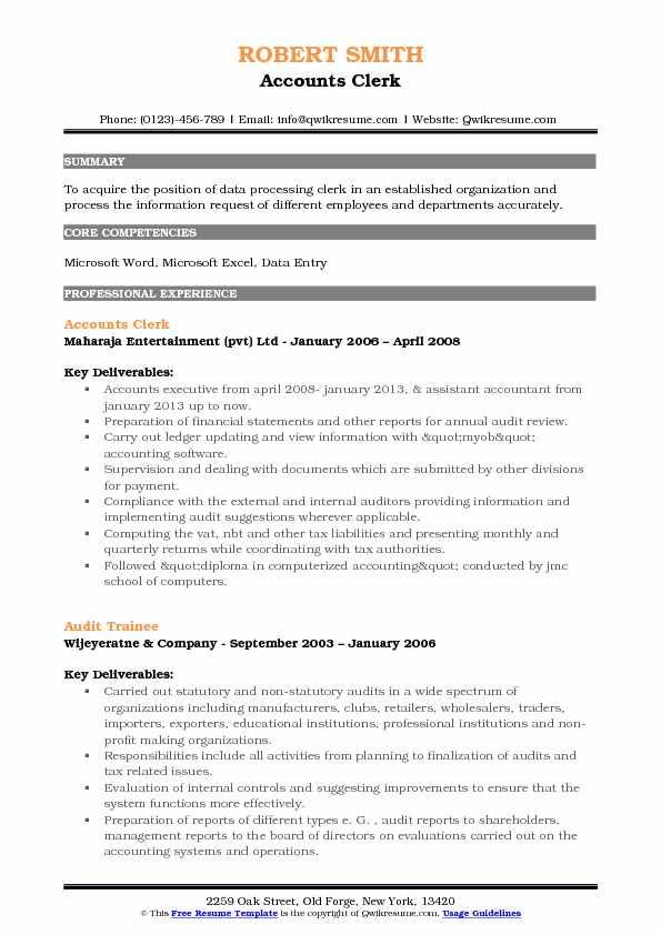Accounts Clerk Resume Samples QwikResume