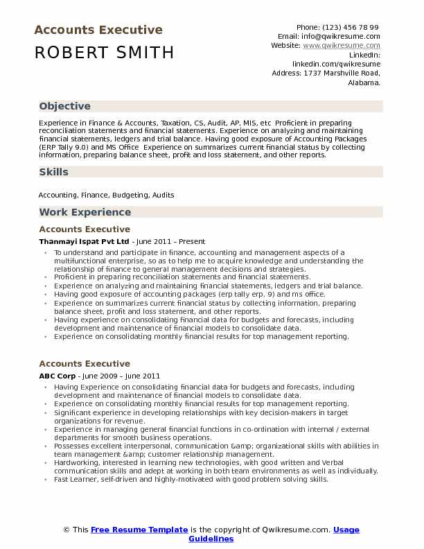 Image Of Resume Format For Accounts Executive - resume format for accounts executive