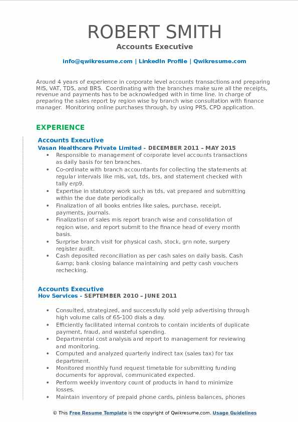 Accounts Executive Resume Samples QwikResume