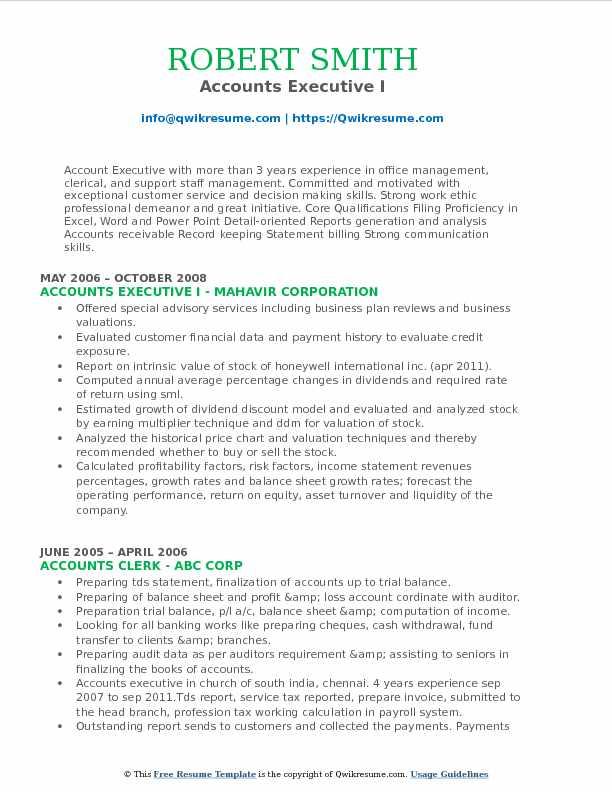 Accounts Executive Resume Samples QwikResume - resume format for accounts executive