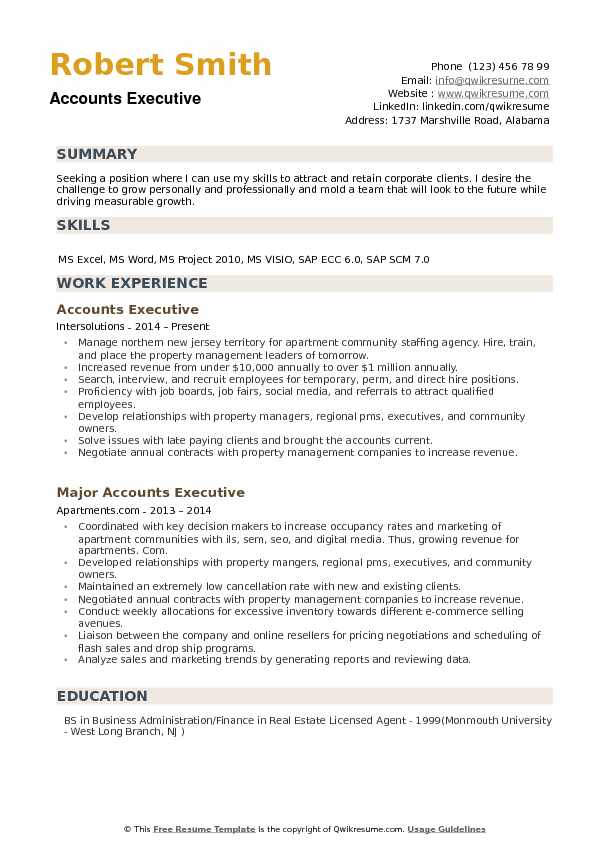 Accounts Executive Resume Samples QwikResume - regional account executive resume