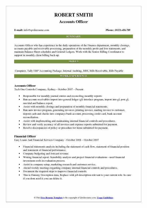 Accounts Officer Resume Samples QwikResume - escrow officer resume
