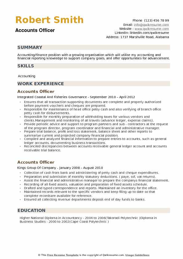 Accounts Officer Resume Samples QwikResume