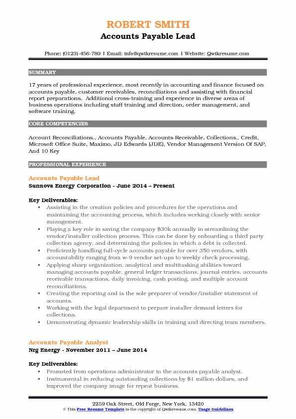 full cycle accounts payable resume sample