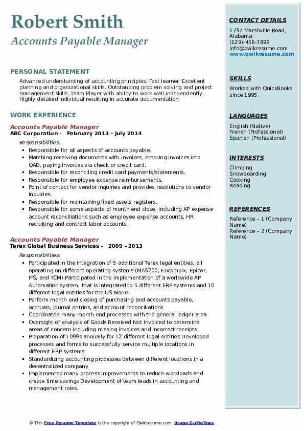 resume headline for accounts payable