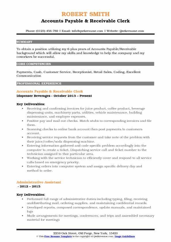 Accounts Payable Receivable Clerk Resume Samples QwikResume