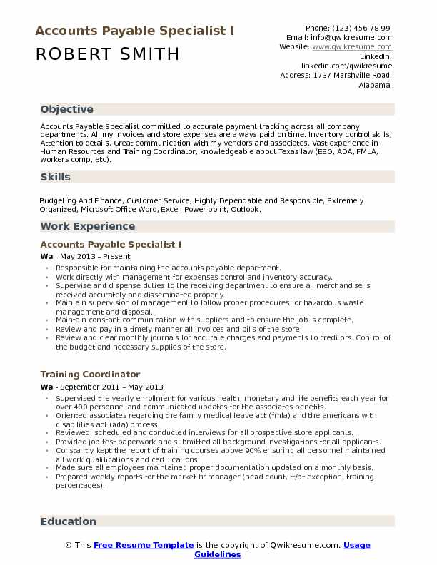 Accounts Payable Specialist Resume Samples QwikResume - workers compensation specialist sample resume