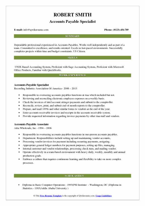 experience resume for accounts payable