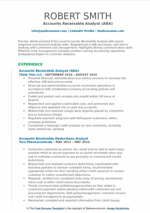 Accounts Receivable Analyst Resume Samples QwikResume