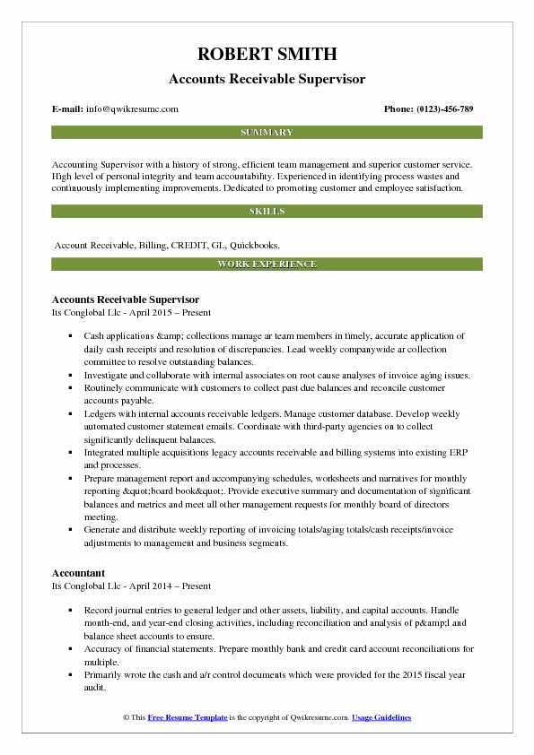 Accounts Receivable Supervisor Resume Samples QwikResume