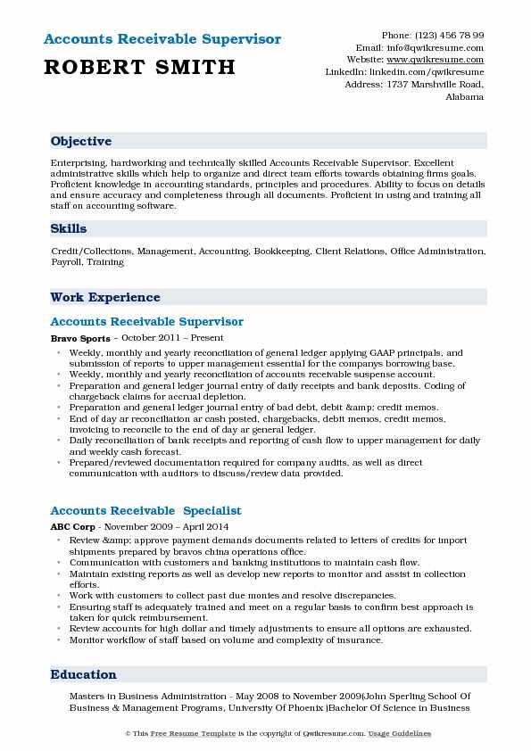 Accounts Receivable Supervisor Resume Samples QwikResume