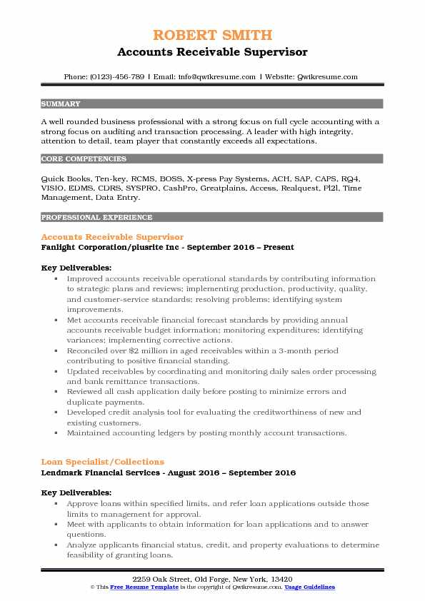 accounts receivable resume objective