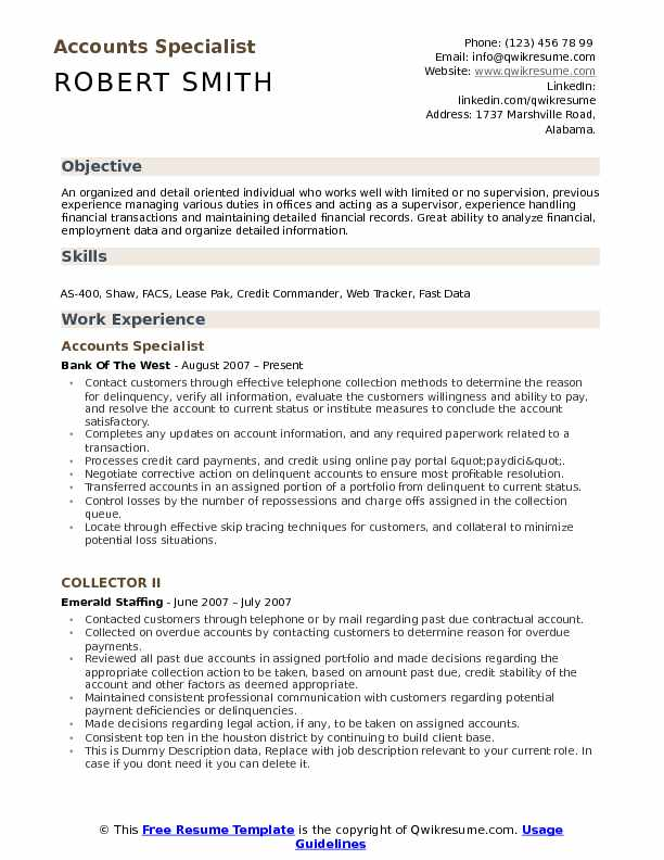 Accounts Specialist Resume Samples QwikResume - how to organize a resume