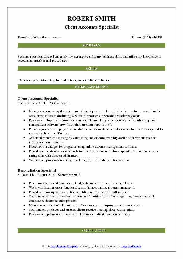 reconciliation specialist resume samples