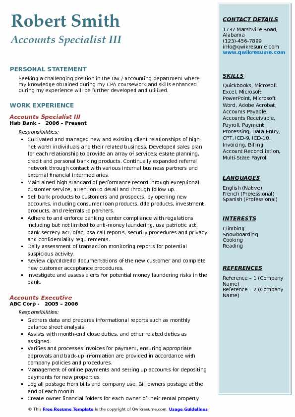 Accounts Specialist Resume Samples QwikResume - reconciliation specialist sample resume