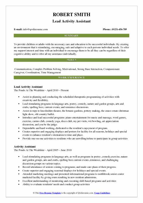 Assistant Resume Samples, Examples and Tips - activity assistant sample resume