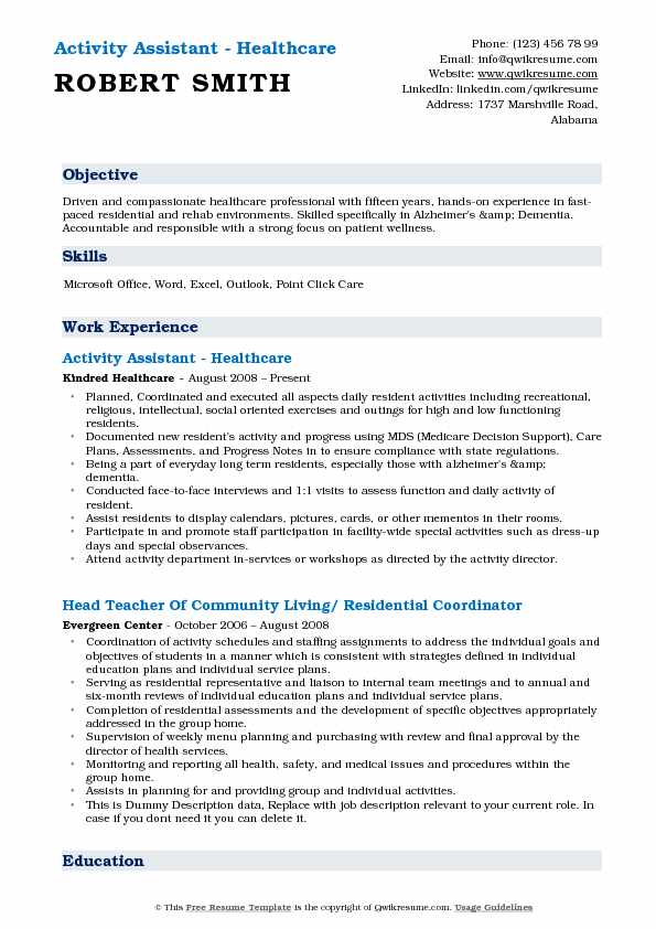 Resume-samples-assistant-resumesactivity-assistant - travelturkey - activity assistant sample resume