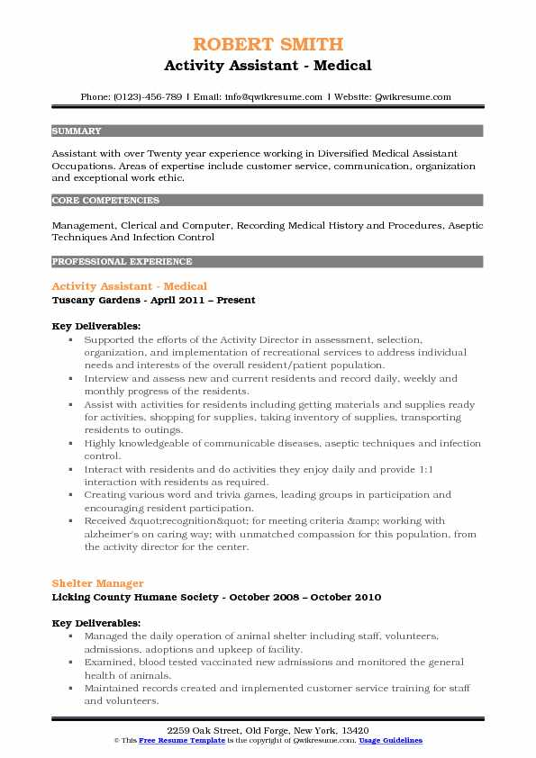 Activity Assistant Resume Samples QwikResume - activity assistant sample resume