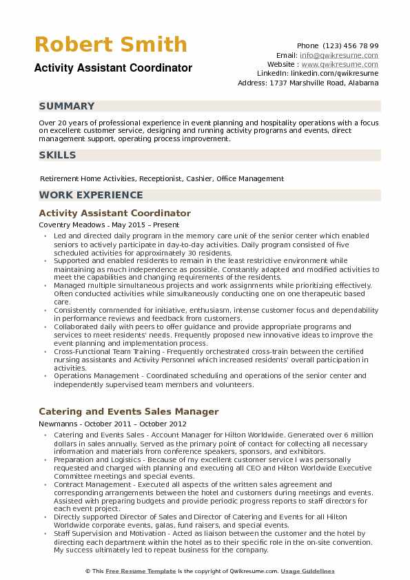 resume for activities coordinator position examples