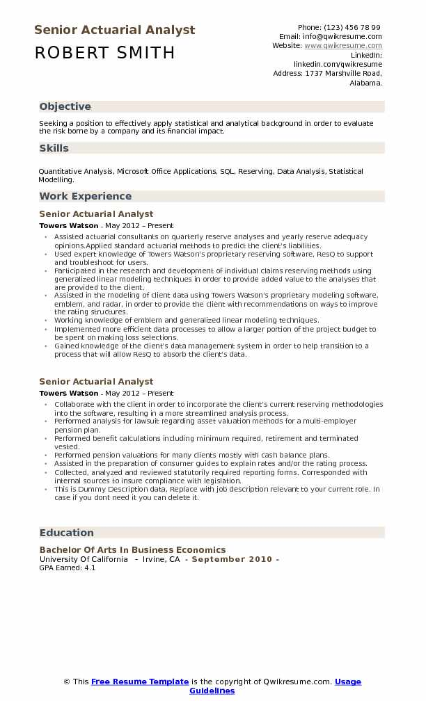 Actuarial Analyst Resume Samples QwikResume