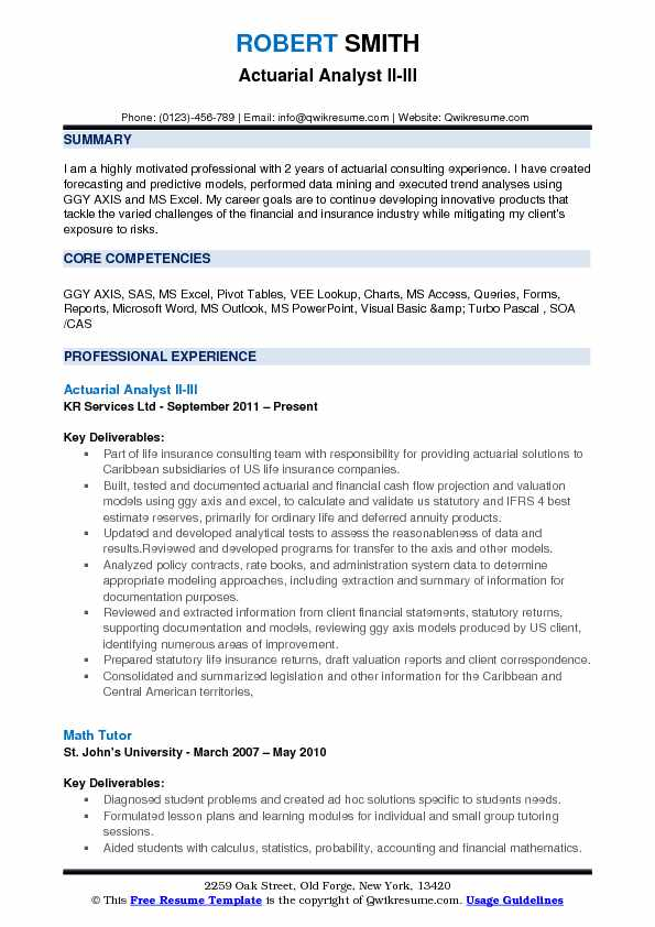 Actuarial Analyst Resume Samples QwikResume - statistical consultant sample resume