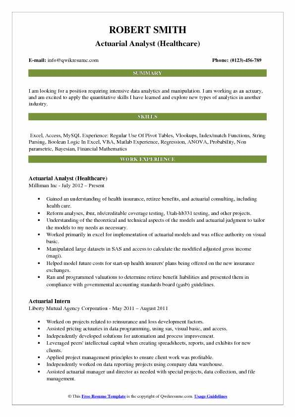actuarial analyst resume samples qwikresume healthcare resume examples - Sample Actuary Resume