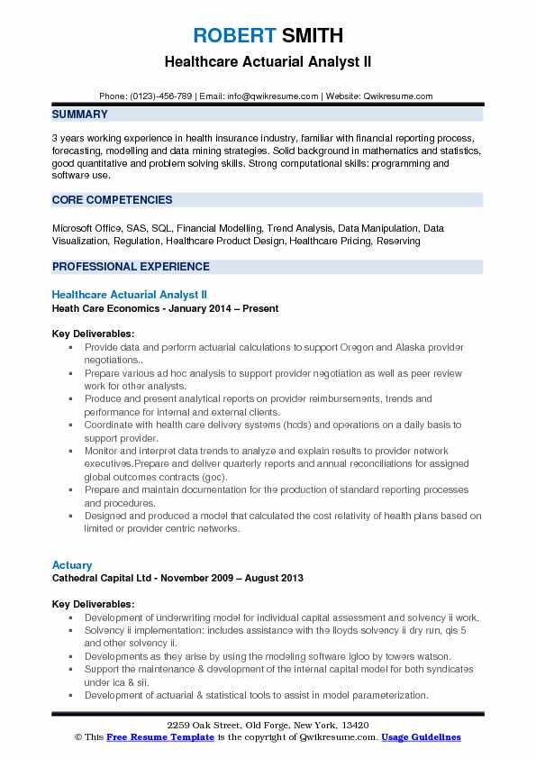 actuarial analyst resume sample