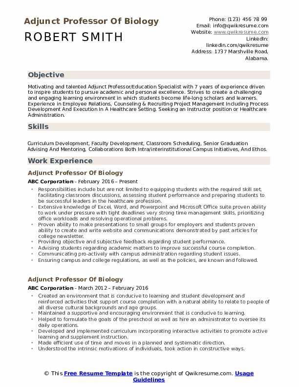 nyu adjunct professor sample resume