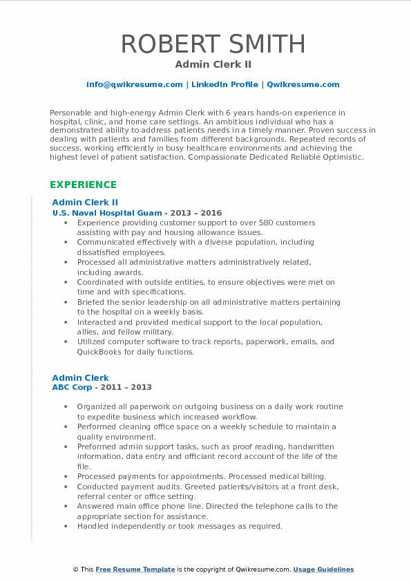 Admin Clerk Resume Samples QwikResume