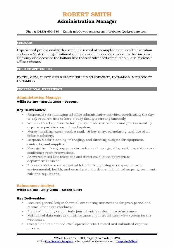 Administration Manager Resume Samples QwikResume - resume format for administration manager