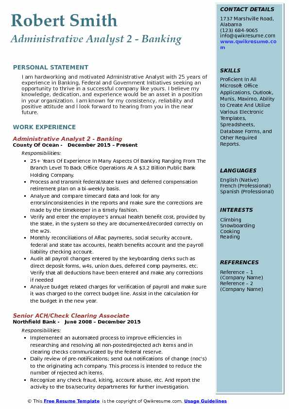 sample resume for back office operations