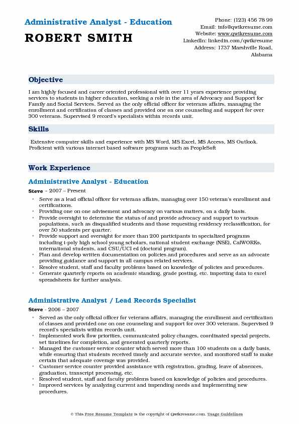 Administrative Analyst Resume Samples QwikResume - Advocacy Officer Sample Resume