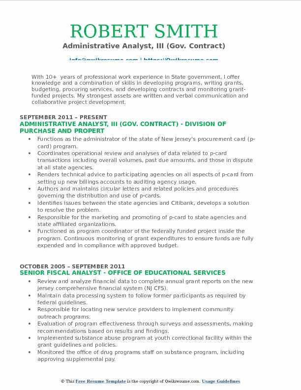 Administrative Analyst Sample Resume Resume Samples For Business