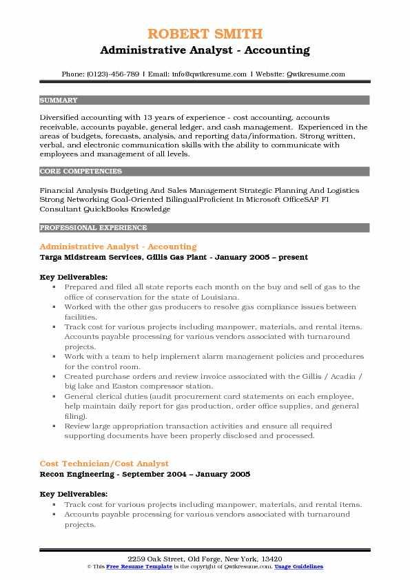 Administrative Analyst Resume Samples QwikResume