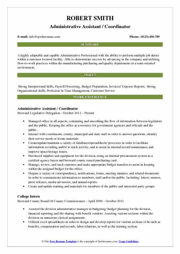 Administrative Assistant Coordinator Resume Samples QwikResume - Program Coordinator Resume