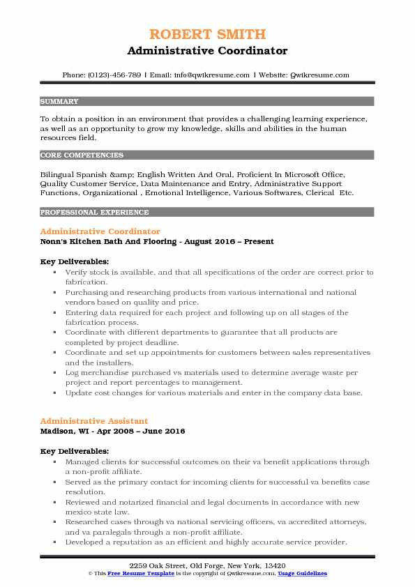 Administrative Assistant Coordinator Resume Samples QwikResume - non profit administrative assistant sample resume