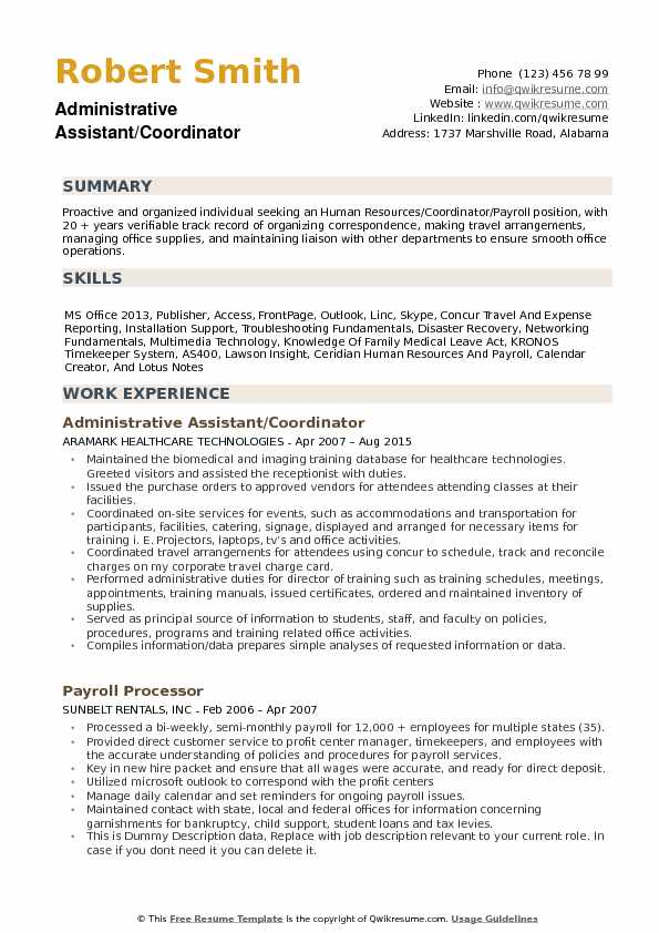 Administrative Assistant Coordinator Resume Samples QwikResume - resume templates for administrative assistant