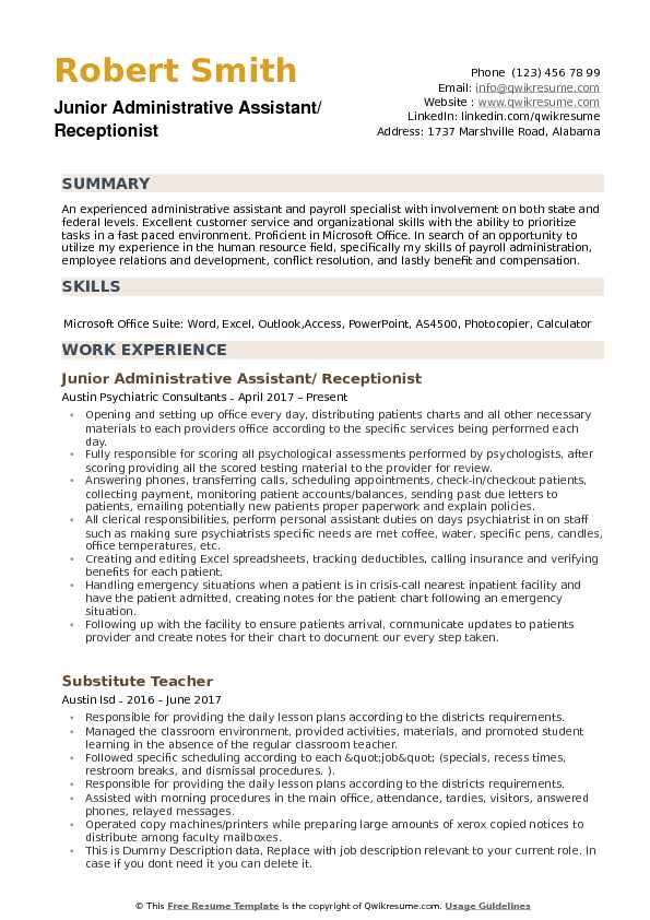 Administrative Assistant Receptionist Resume Samples QwikResume