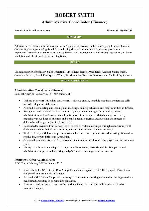 Administrative Coordinator Resume Samples QwikResume