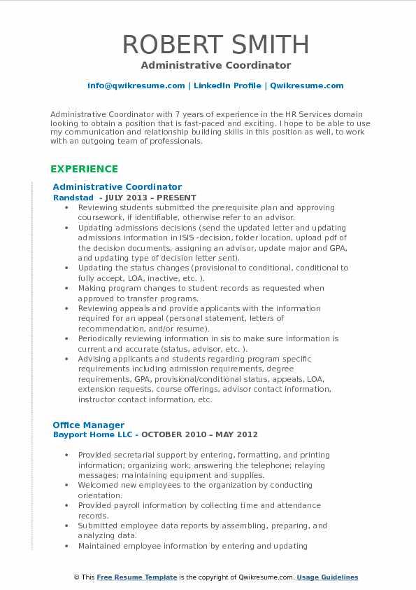 Administrative Coordinator Resume Samples QwikResume