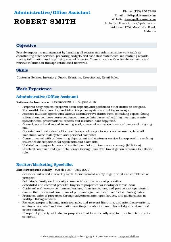 Administrative Office Assistant Resume Samples QwikResume - office assistant resume format