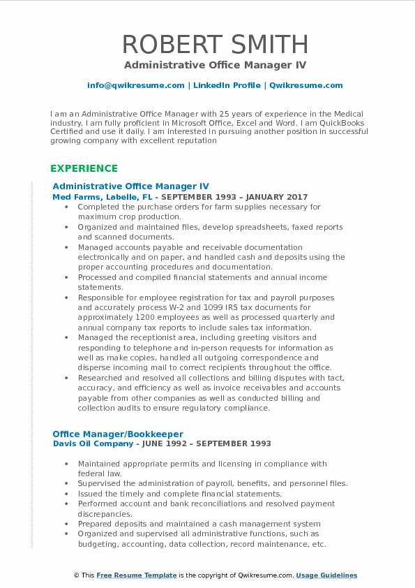 Administrative Office Manager Resume Samples QwikResume
