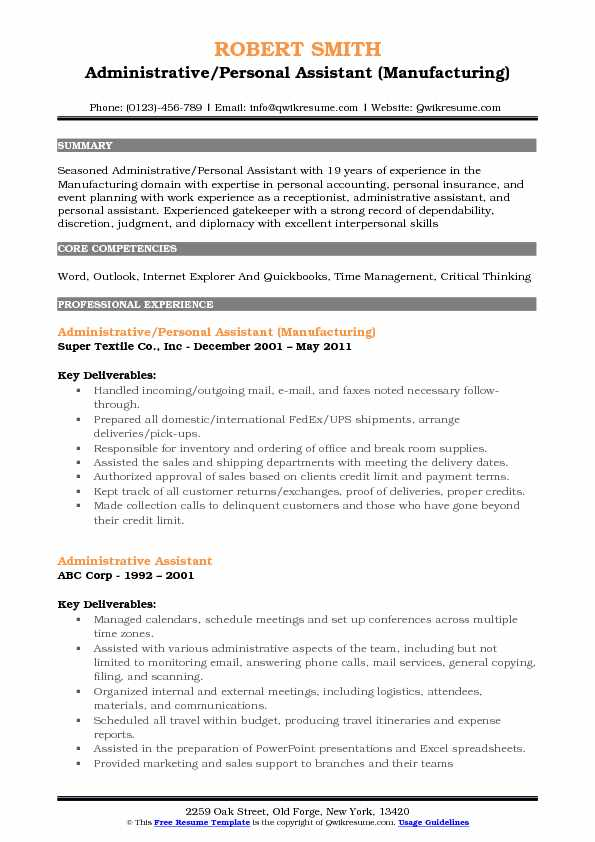 Administrative Personal Assistant Resume Samples QwikResume - resumes for personal assistants