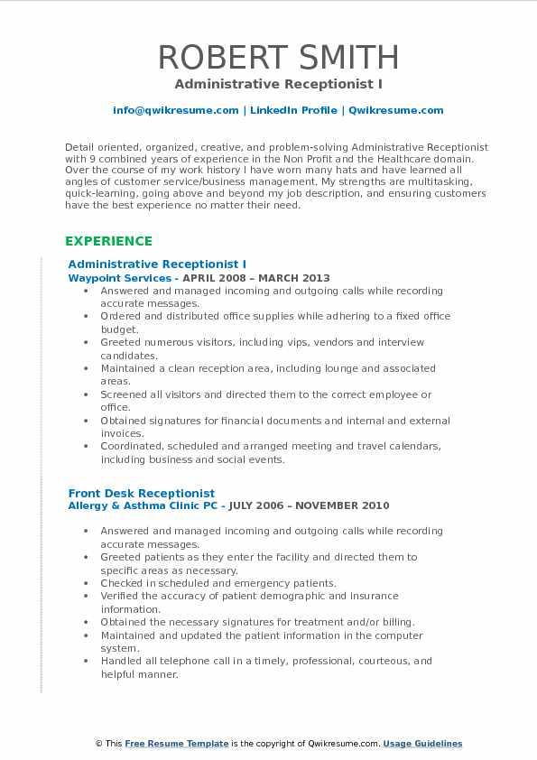 Administrative Receptionist Resume Samples QwikResume