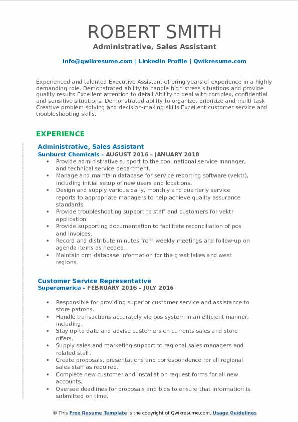 Administrative Sales Assistant Resume Samples QwikResume