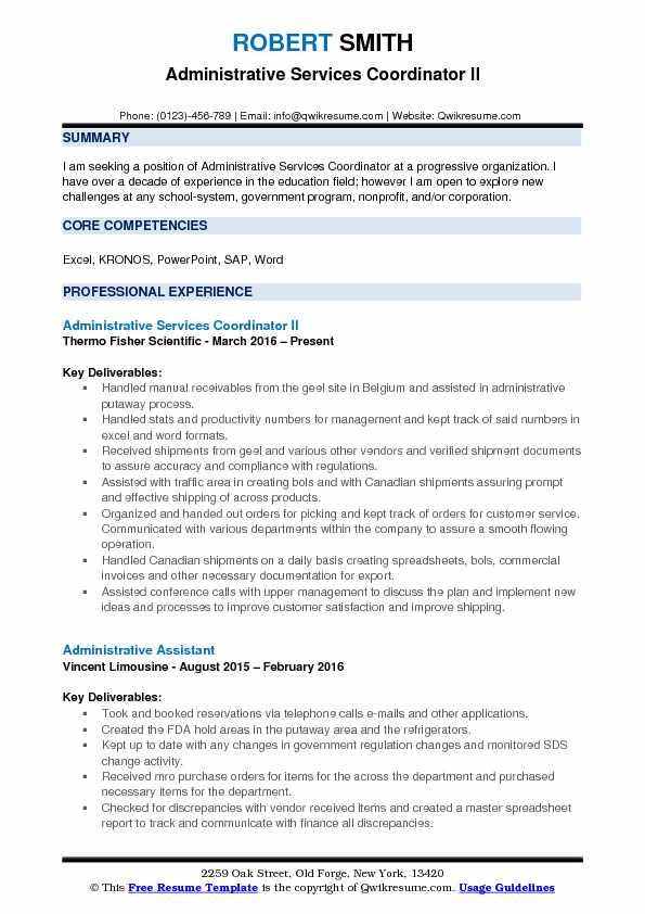 Administrative Services Coordinator Resume Samples QwikResume